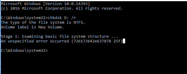 chkdsk gives error code - 726173642e637878 25f - Windows 10 Forums
