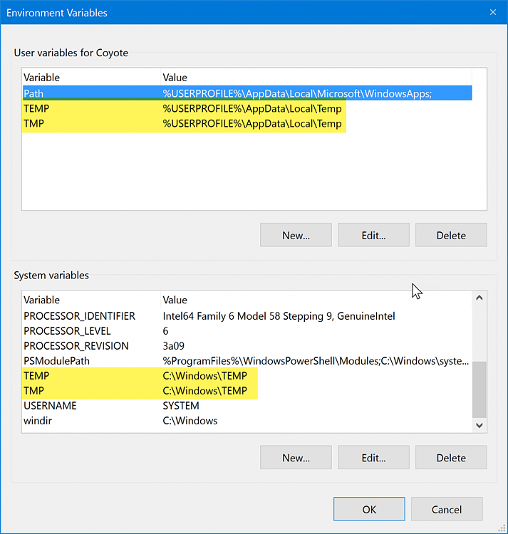 moving temp folder location Solved - Windows 10 Forums