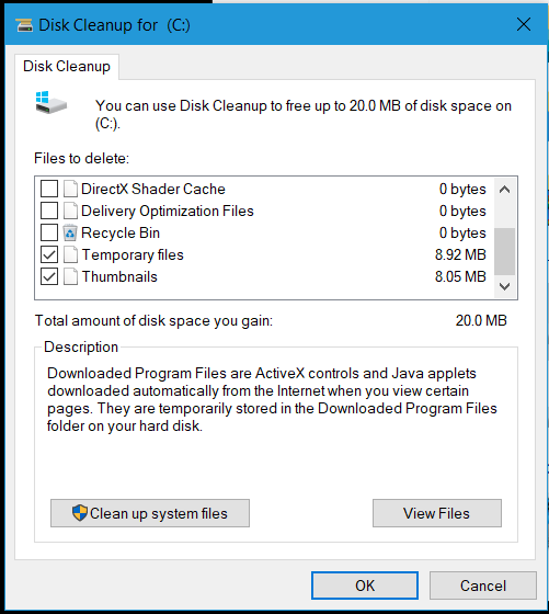Disk Cleanup showing 2.9GB Temporary Internet Files - Page 2