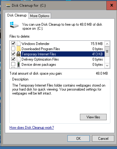 disk cleanup showing 2 9gb temporary internet files page 4 windows 10 forums. Black Bedroom Furniture Sets. Home Design Ideas
