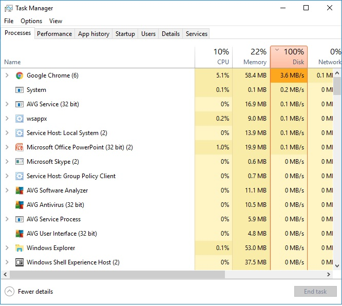 Windows 10 100% disk usage in Task Manager - Windows 10 Forums
