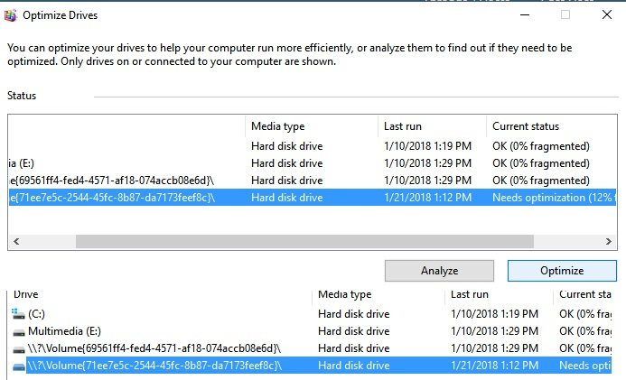 disk defragmenter in windows 10