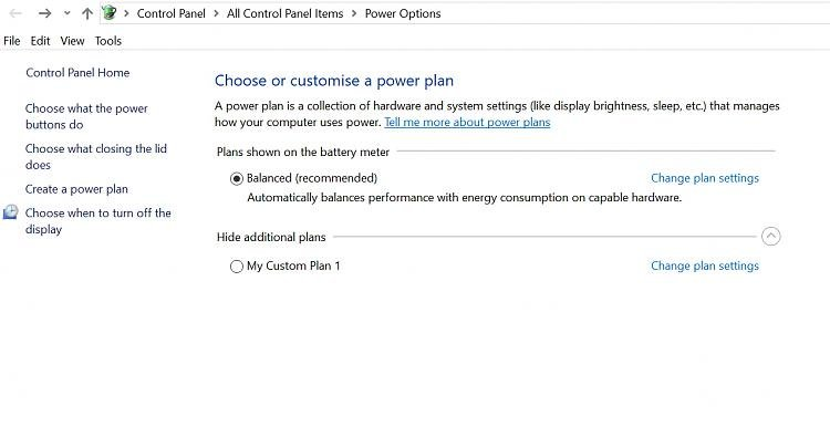 Power options missing High Performance option Solved