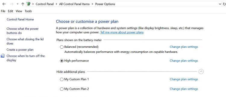 Power options missing High Performance option Solved - Windows 10 Forums