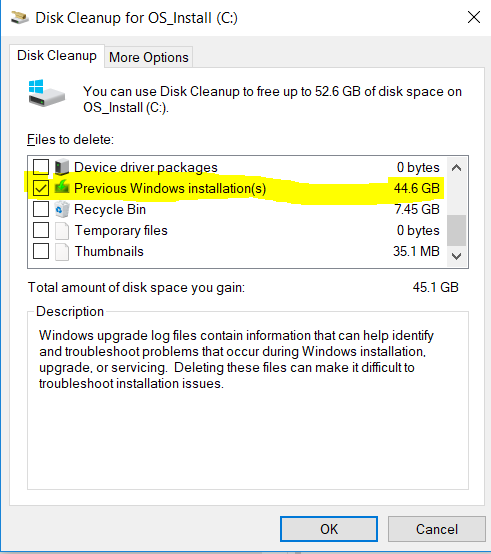 Disk Cleanup says it can remove 44GB of old windows