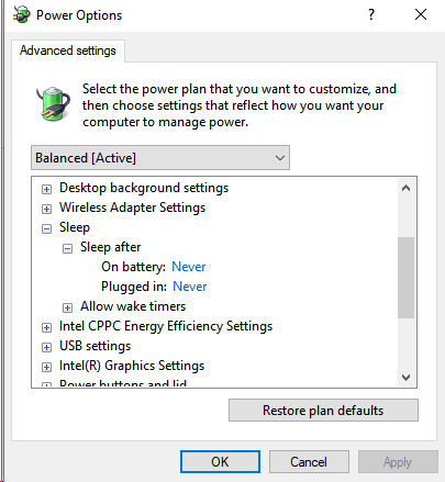 Laptop is hibernating when plugged in when setting says not