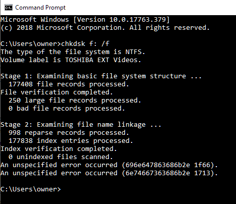 CHKDSK /F fails with An unspecified error occurred  Solved - Windows