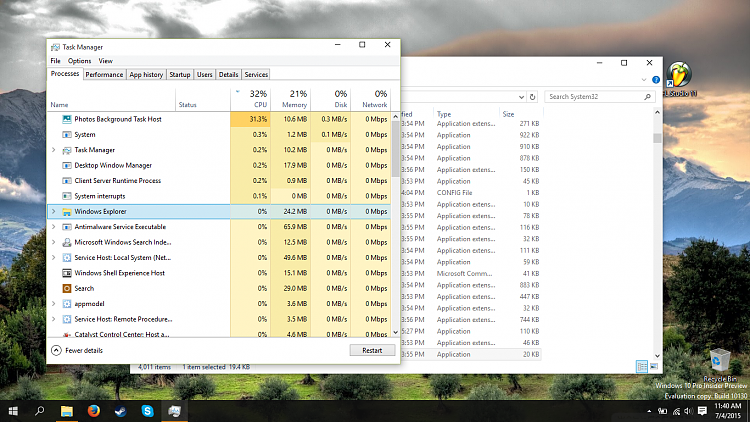 windows 10 cpu usage across all applications