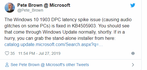 V1903 Causing DPC Latency Hits Solved - Page 2 - Windows 10