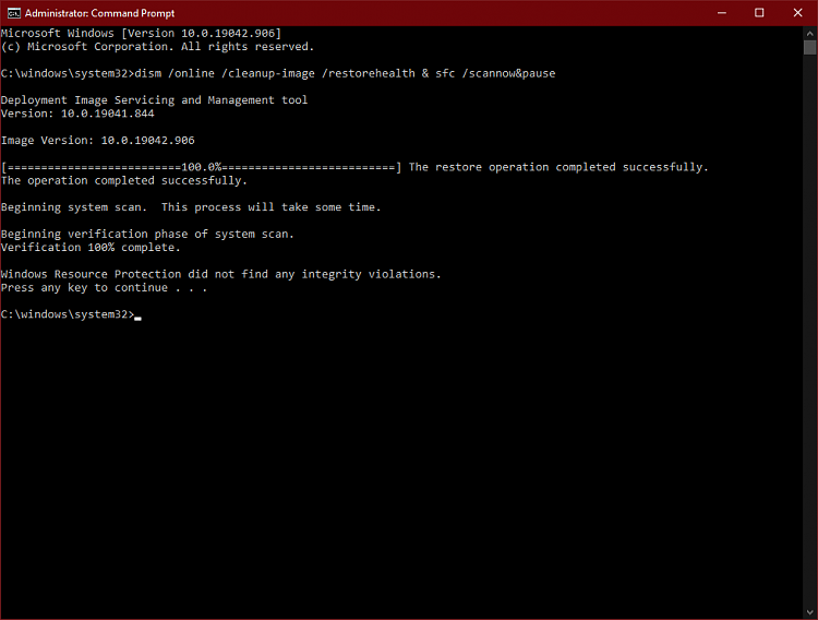 [20H2 19042.906] dfrgui.exe doesn't launch, unresponsive-cmd_2036_dism_sfc.png