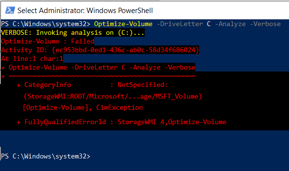 Running Optimize literally does nothing; in PS it yields an error-powershell-defrag-results.png