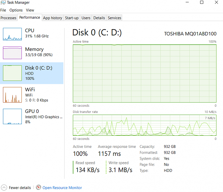 Disk 100% Used Issue, post Windows 10 Update...-disk-usage.png