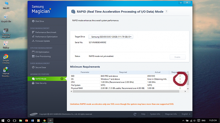 SSD Samsung Evo 850 & Samsung Magician RAPID mode Solved - Windows