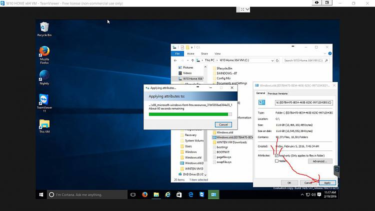 TEAM VIEWER Changing Attributes on Windows_old Folder W10 VM.jpg