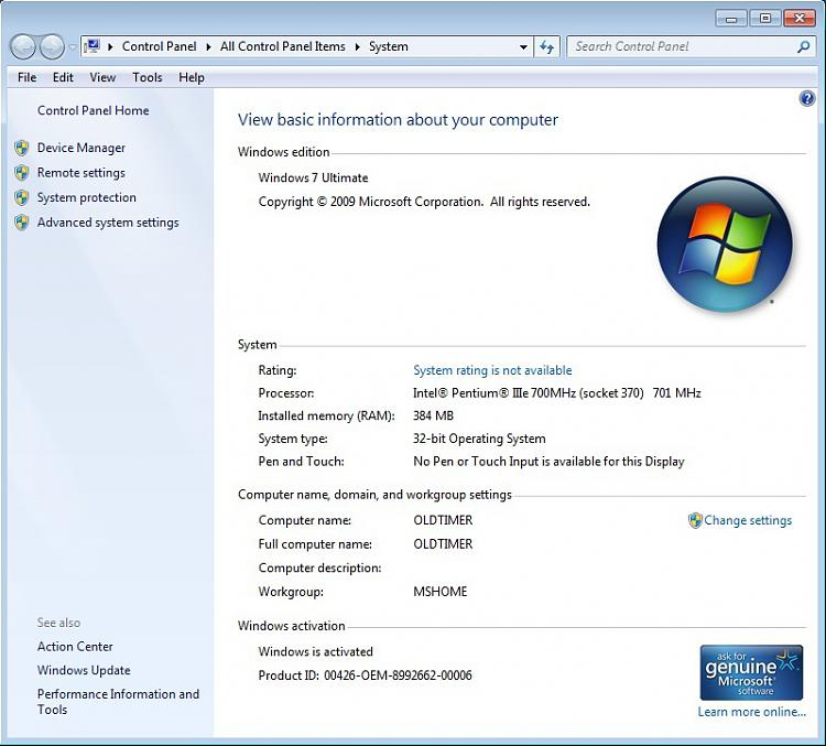 Click image for larger version.  Name:Windows 7 on Pentium IIIe 700 MHz 384MB RAM.jpg Views:4 Size:129.7 KB ID:72514