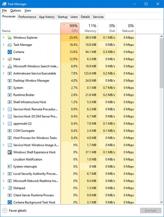 Anniversary Update: Windows 10 CPU usage 100% All the time ...