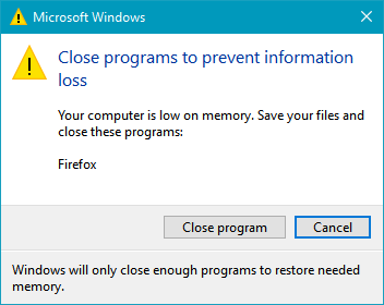 Click image for larger version.  Name:Low on memory dialog.png Views:34 Size:303.7 KB ID:97024