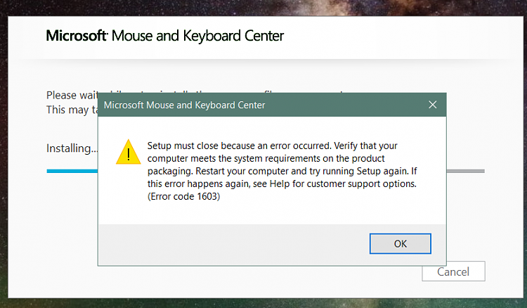 Error 1603 when trying to install Microsoft Mouse & Keyboard