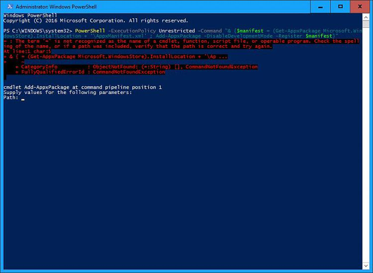 Click image for larger version.  Name:Windows Store re-register error.jpg Views:7 Size:67.8 KB ID:112663
