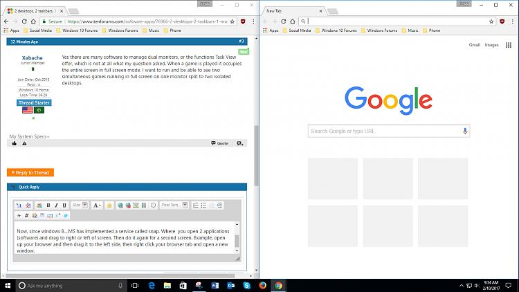 2 desktops, 2 taskbars, 1 monitor, full screen mode for each