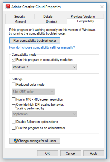 Unable to use Adobe software strange error message appears..-compatibility-mode.png