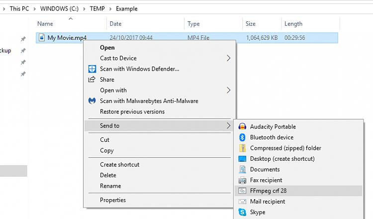 Transcode video from Explorer context menu? - Windows 10 Forums