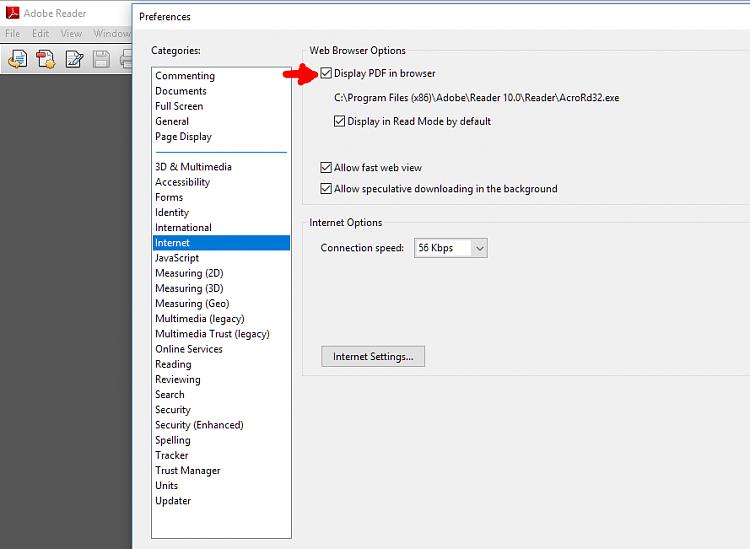 Click image for larger version.  Name:Adobe Reader Internet options.PNG Views:1 Size:34.9 KB ID:165449