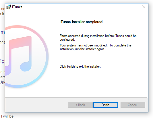 itunes failed installation error code 1603 - Windows 10 Forums