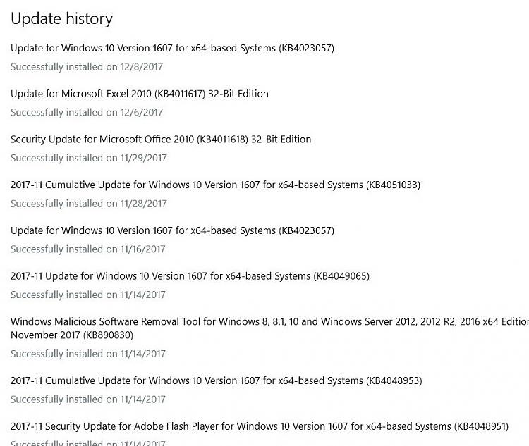 Click image for larger version.  Name:Windows 10 update history as of 12-11-17.JPG Views:1 Size:156.1 KB ID:167802