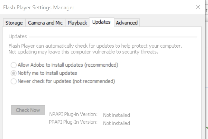Click image for larger version.  Name:adobe flash player..... update tab..jpg Views:29 Size:97.2 KB ID:175582