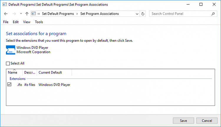 Click image for larger version.  Name:Control Panel Defaults by program.PNG Views:1 Size:15.5 KB ID:181032