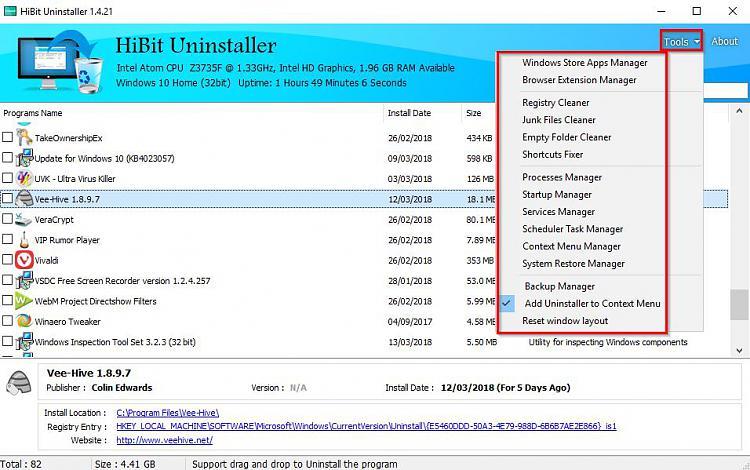 Click image for larger version.  Name:HiBit Uninstaller 1.4.21.jpg Views:2 Size:111.7 KB ID:181210