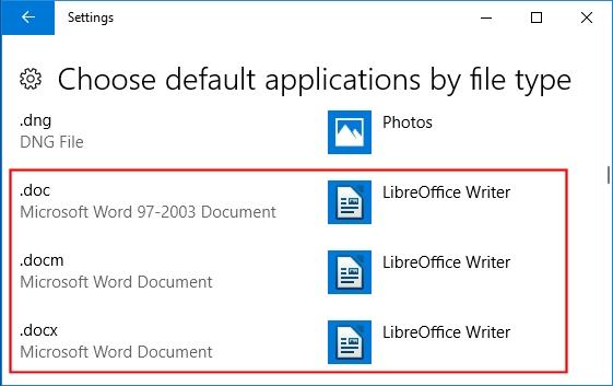 Set default app as OpenOffice Writer - cannot set in Windows 10
