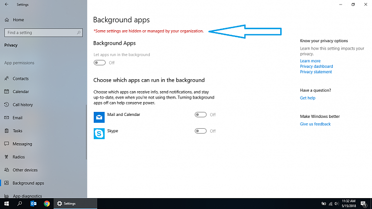 How to turn off Background apps in windows 10 (1803) for