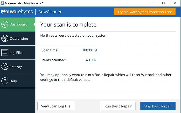 Click image for larger version.  Name:Malwarebytes AdwCleaner basic repair.JPG Views:3 Size:175.8 KB ID:190351