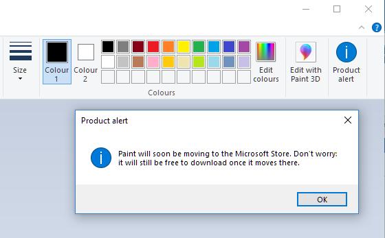 """Paint : Remove """"open paint 3d"""" within MS Paint-paint-1803-product-alert.png"""