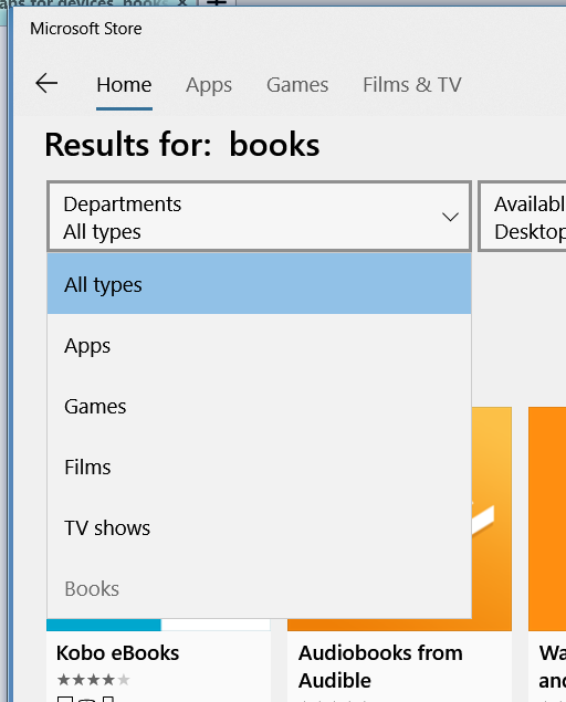 Store app, no tabs for devices, books etc - Windows 10 Forums