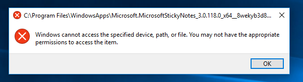 Sticky Notes upgrade - cannot access C:\Program Files\WindowsApps-error.png
