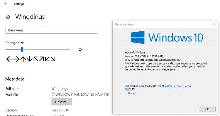 I need comprehensive ARROW FONT - Windows 10 Forums