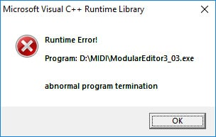 Microsoft Visual C++ Runtime error, abnormal program