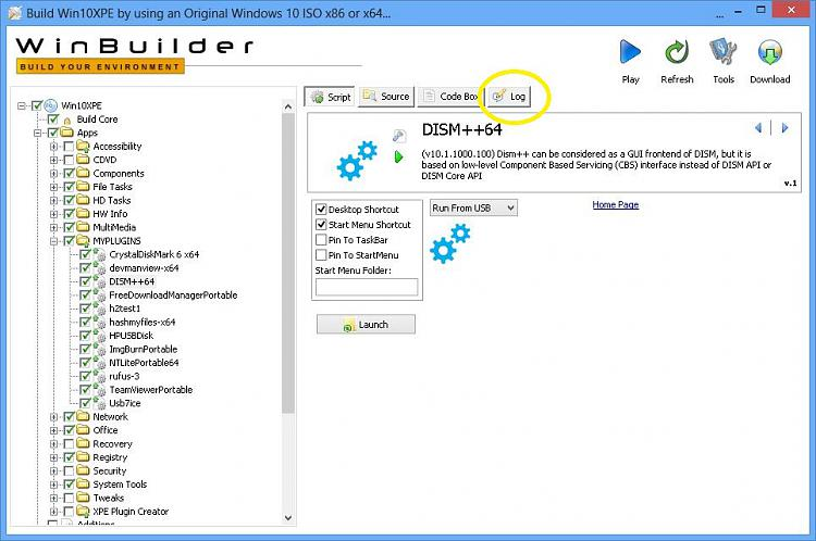 Click image for larger version.  Name:WinBuilder logs are Loaded .JPG Views:0 Size:142.5 KB ID:247429