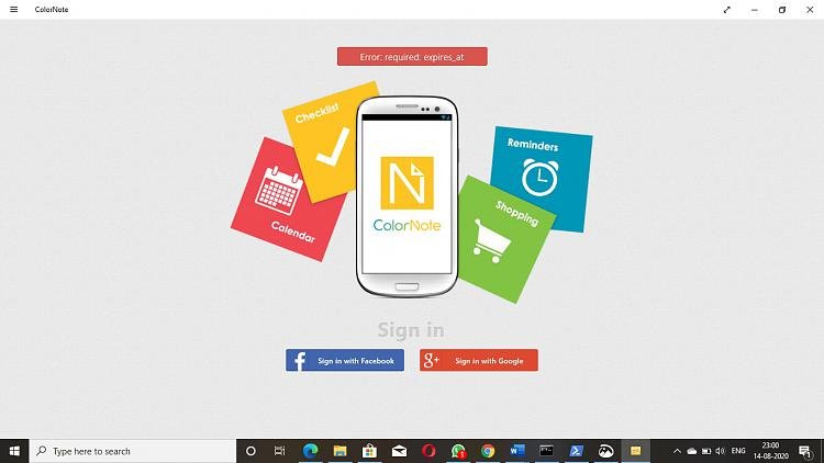 unable to login to color note application from microsoft store require-launch-problems.jpg