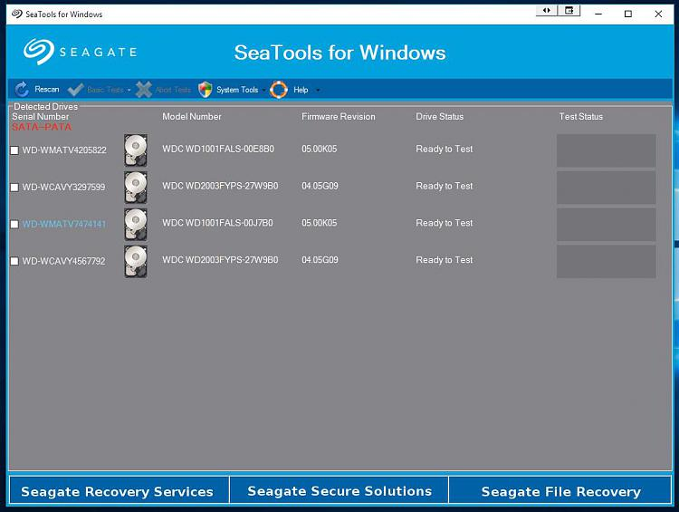 Click image for larger version.  Name:SeaTools For Windows 1 Drives Detected.jpg Views:1 Size:82.2 KB ID:39475