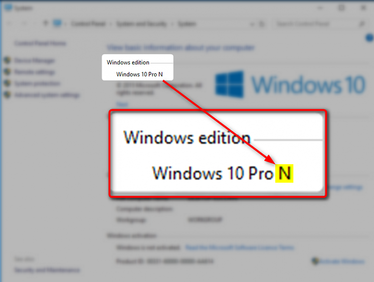 windows 10 versions pro n
