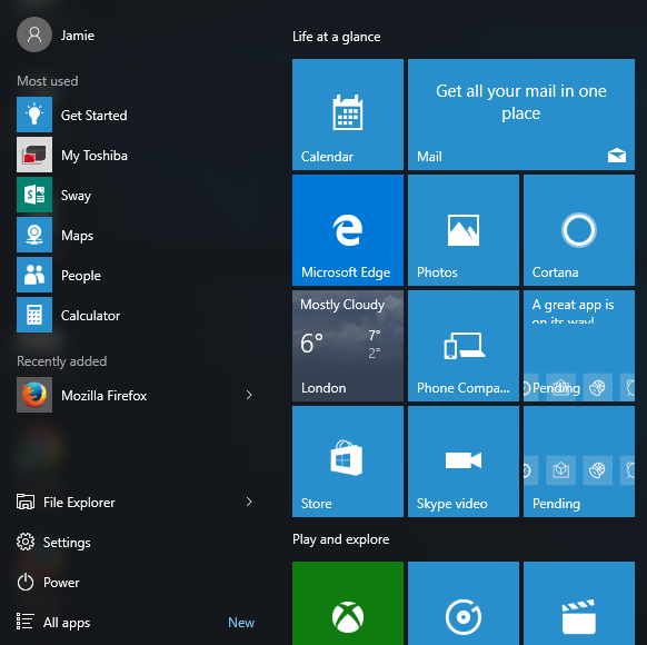 missing tiles in the start menu