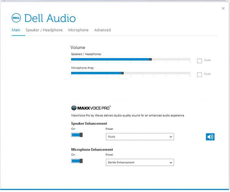 Click image for larger version.  Name:Dell Audio Main screen.PNG Views:7 Size:30.3 KB ID:136555