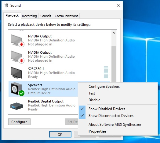 No Playback Device Option in Realtek HD Audio Manager