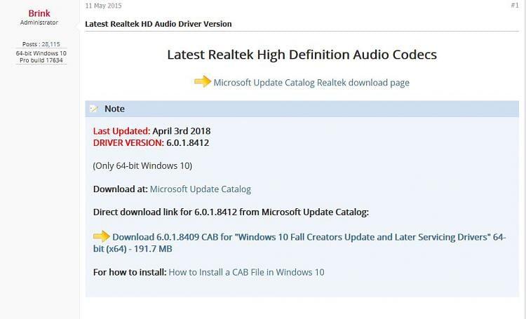 install windows 10 audio driver