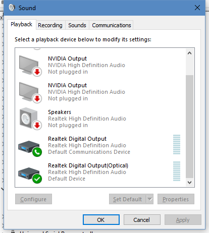 It appears to be a problem with Cortana selecting the wrong output device despite the sound control panel settings. I have reproduced this with the Realtek hardware turned off. Thanks for the idea, however. Your approach does fix an audio problem that I had a couple of builds ago. Good solution. Different problem.