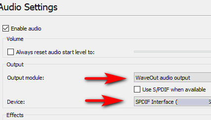 Audio Driver(s) config for S/PDIF passthrough for DTS/DD o/p
